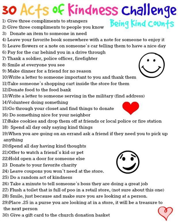 30 acts of kindness challenge