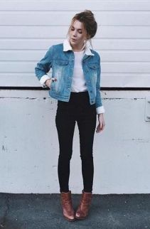 Denim jacket for women street style ideas (01)