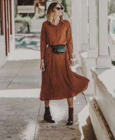 One Of The Most Assosicated Color Palettes For Fall, Orange & Merlot. This Gingham Dress In All It's Glory & New Patricia Nash Designs Merlot Combat Boots Fall Fashion // Fanny Pack // Ootd // What To Wear // Belt Bag #fallfashion #fashion #fashioninspir