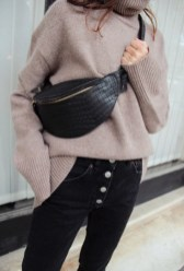 Bloglovin.com Black Denim Jeans Button Detail, Knit And Bumbag: Fannypack Outfits Street Style Ideas