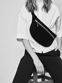 CHRISTINA FISCHER Oversized Suede Bumbag With Leather Details - Made From 100% Recycled Suede & Leather.