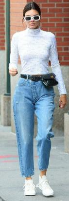 Dailymail.co.uk Cool Kid:The Model Went For A Retro Vibe Wearing Mom Jeans With A Vintage Chanel Fanny Pack And An Eckhaus Latta Rose Print Turtle Neck