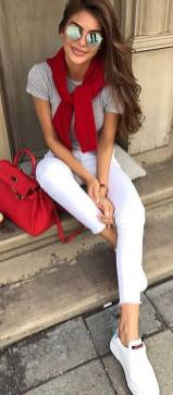 Women's white sneakers outfit 34