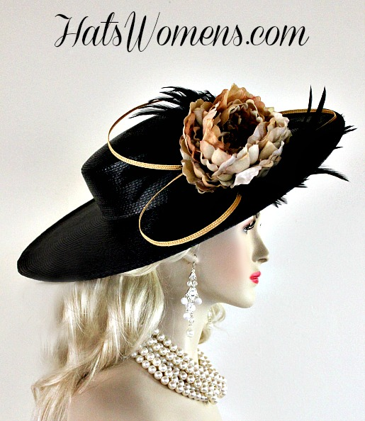 7faf1d53 Ladies Black Gold Wide Brim Designer Fashion Feather Hat Beige Brown Flowers,  Church Wedding Dress