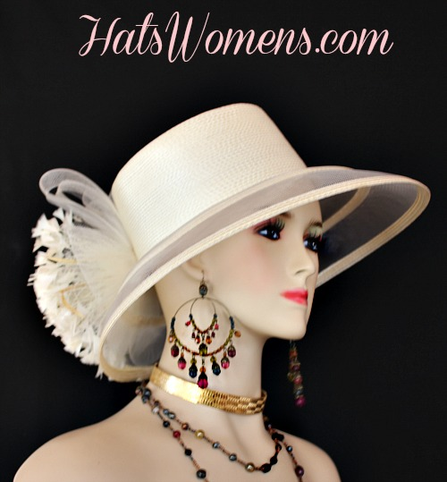 f07548db40b54 Ivory Formal Lampshade Wide Brim Special Occasion Wedding Hat, Races Bridal  Dress Hats