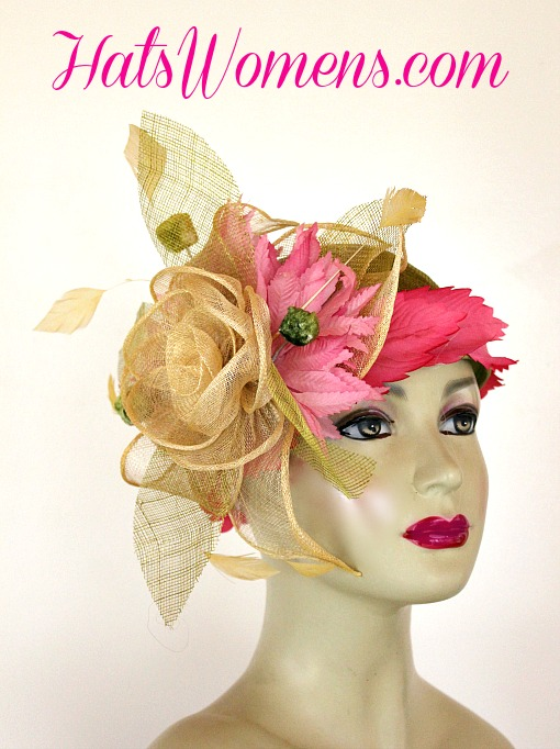 07d05719080c57 Olive Lime Green Ivory Sinamay Straw Cloche Flapper Wedding Bridal Cocktail  Pillbox Hat With Hot Pink