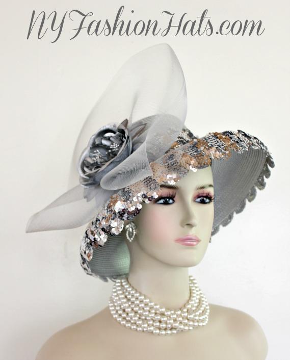 197b988f Ladies Metallic Silver Sequin Formal Wedding Hat, Kentucky Derby Hats, Church  Hats, Grey