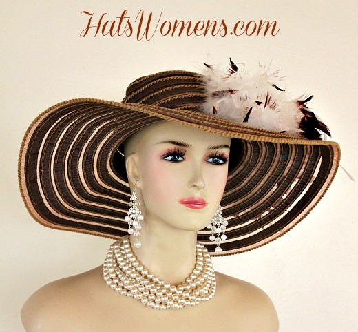 4e5f9e5f Ladies Brown White Wide Brim Church Wedding Designer Fashion Hat Feathers  Roses ...