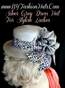 877509a4 Silver Grey Casual Or Dress Designer Hat With A Black And White Sash ...