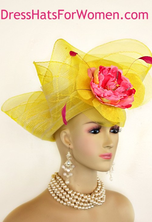 79d2e199 Kentucky Derby Hat, Women's Yellow Pink Couture Designer Church Wedding  Fashion Hats FL45