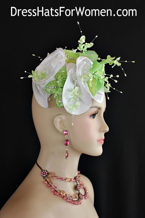 812fcba7 Women's Lime Green White Mini Pillbox Hat, Cocktail Hats 1920's Flapper Bridal  Headpiece, Wedding