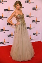 In a Reem Acra gown at the Country Music Awards in Nashville, Tennessee.