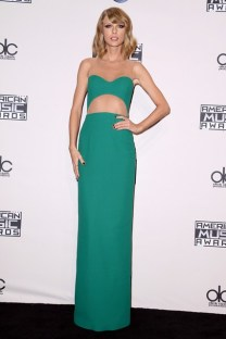 She wore a custom cut-out gown by Michael Kors to the American Music Awards in Los Angeles.