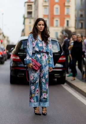 MILAN, ITALY - SEPTEMBER 21: Tamara Kalinic wearing a jumpsuit with floral print is seen outside Alberta Ferretti during Milan Fashion Week Spring/Summer 2017 on September 21, 2016 in Milan, Italy. (Photo by Christian Vierig/Getty Images) *** Local Caption *** Tamara Kalinic