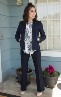 Pant suit with polka dot blouse. (PC: Christina Johnston)