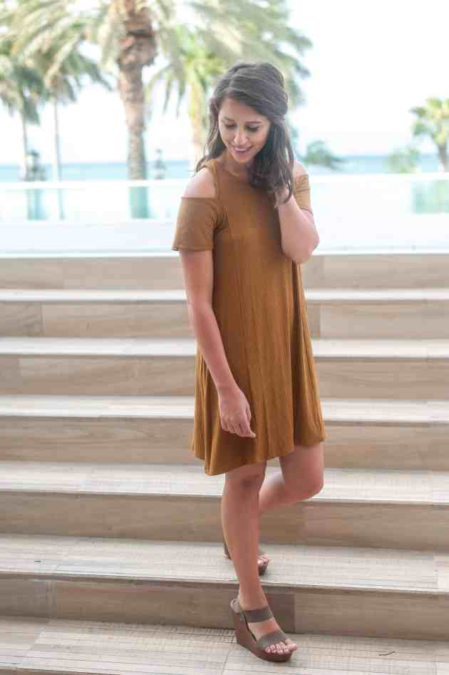 Dress Up Buttercup | Houston Fashion Blog - Dede Raad | Lush Cold Shoulder Rib Knit Shift Dress