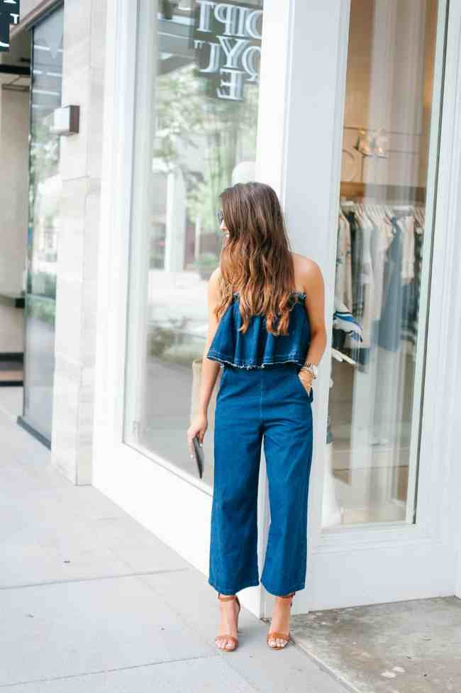 Denim on Denim Jumpsuit , Dress Up Buttercup, Dede Raad, Houston blogger, fashion blogger, J.O.A. Strapless Crop Denim Jumpsuit