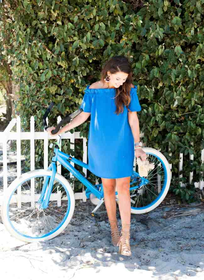 Dede Raad Blue pleione off the shoulder dress