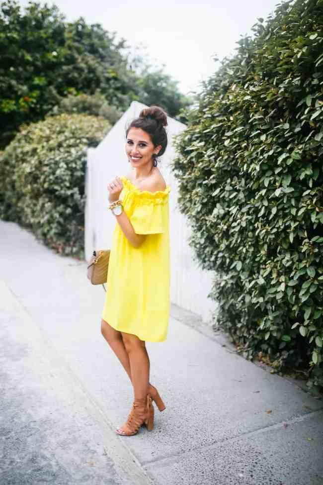 Dede Raad yellow pleione off the shoulder dress