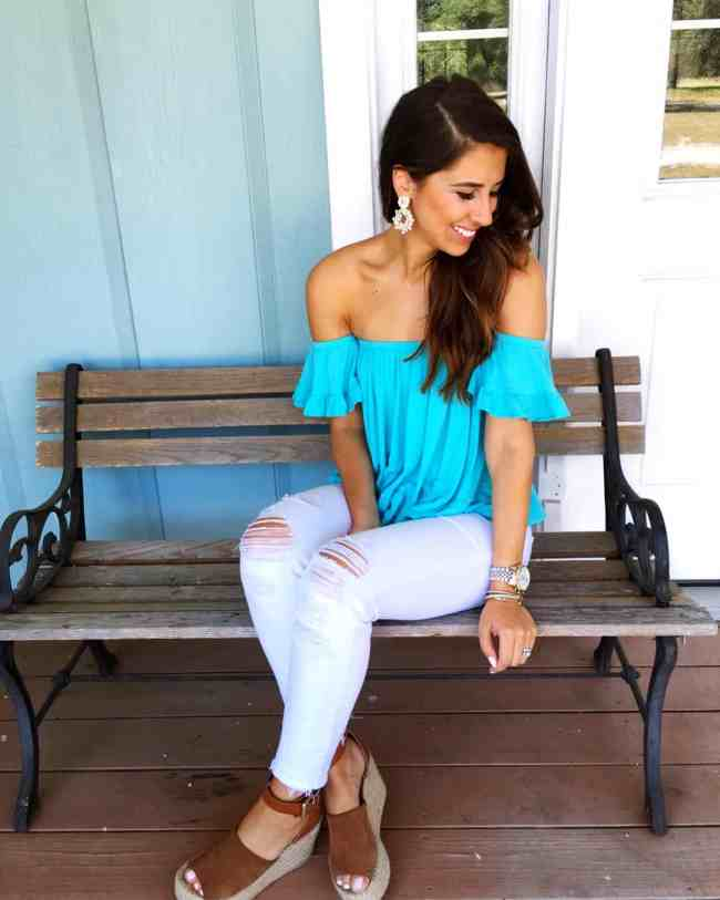 Dress Up Buttercup, Dede Raad, Houston Blogger, Fashion blogger, Fredericksburg, blue off the shoulder