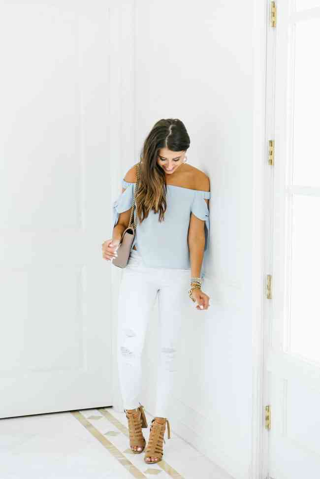 Dress Up Buttercup, Dede Raad, Fashion blogger, Houston blogger, off the shoulder top, white jeans ,