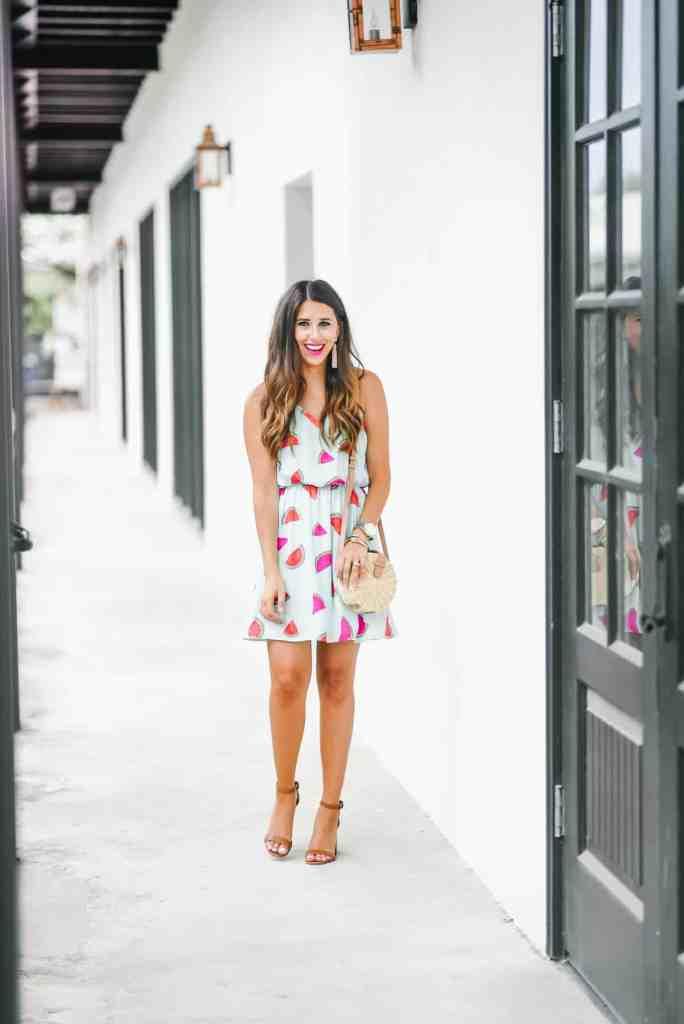 Dress Up Buttercup, Dede Raad, Houston Blogger, Fashion blogger, Watermelons, Watermelon Dress, mod cloth, mod cloth watermelon dress, everly watermelon dress