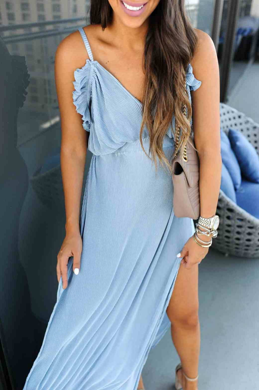 dress up buttercup 7 of 8 - Pleated Blue Maxi