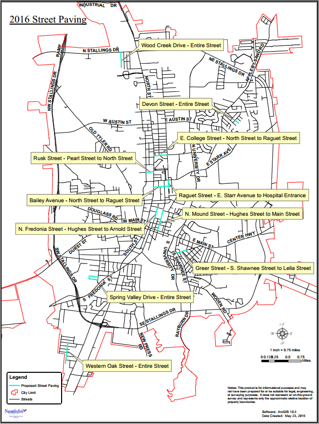 Nacogdoches City Streets - Project Map