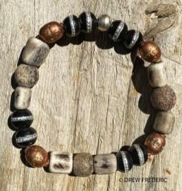 Silver Inlaid Black Bone Prayer Beads, Copper Ethiopian Prayer Beads, Kenya Bone Beads, and Fossilized Stegodon Beads from Java