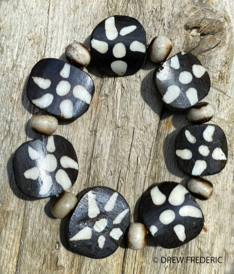 Batik Kenyan Bone Sun Design Beads and Carved Disk Bone Beads