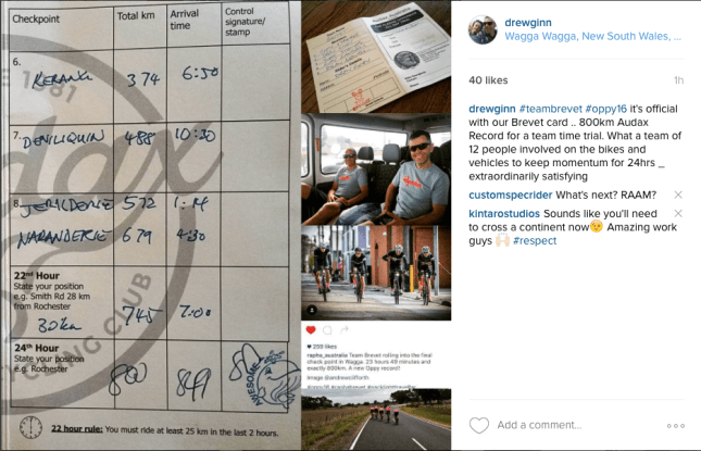 Offical Team Brevet Card .. Signed off with 800km completed for a new record - what an awseome team