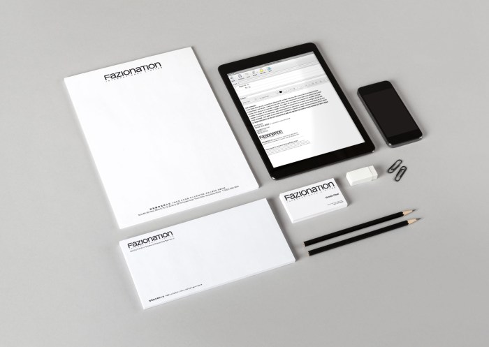 Fazionation corporate stationery