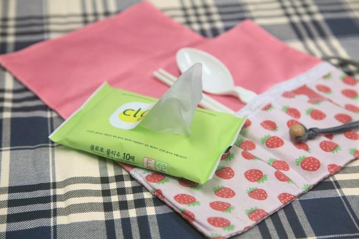 Green Baby Garden upcycling utensil wrapper inside with wet tissue pack
