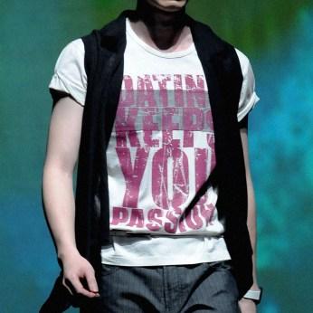 menswear catwalk show, white round neck tee, purple types on white | British Fashion Retail Brand – Magnum London :: fashion graphics