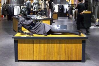 black female womenswear mannequin, lying position   British Fashion Retail Brand – Magnum London :: Visual Merchandising