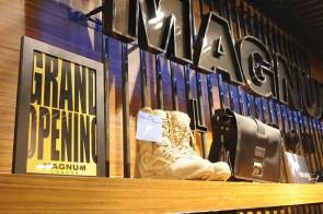 black raw steel POP stand, in use on shoes shelf   British Fashion Retail Brand – Magnum London :: Visual Merchandising