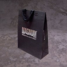 medium size shopping bad retail black cardboard silver foil logo, new identity | British Tactical Apparel Wholesale Brand – Magnum Essential Equipment :: branding