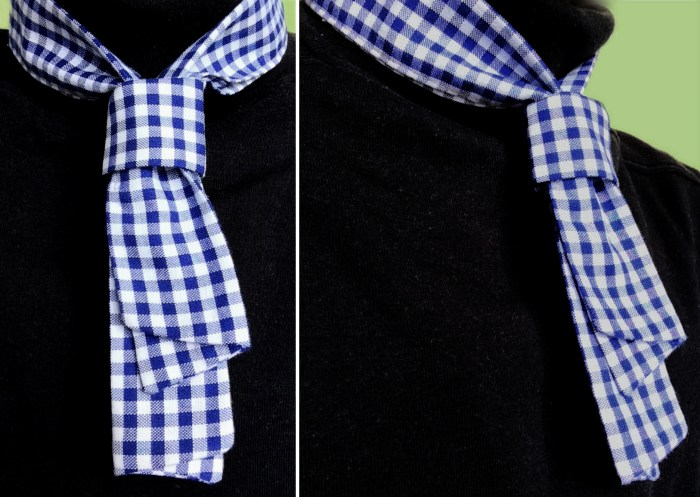 demonstration, blue white gingham check, neckerchief styling creation DIY production management accessories merchandising | Art Space with Vegetarian Café in Hong Kong : : Retail Identity and Zakka Creation