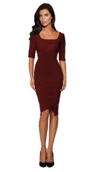 Businesskleid Etuikleid Bridget burgund knielang 3/4 Arm