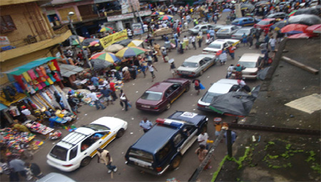 Driving in Freetown.