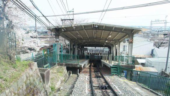 八幡市駅を見下ろす。桜は両側に咲いているが、電車は見えない。