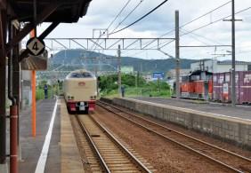 1番線をサンライズが通過、迂回貨物列車は3番線で待機です。