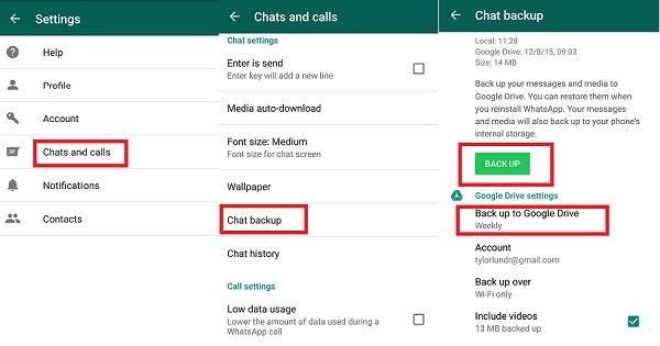 backup WhatsApp to google drive on android