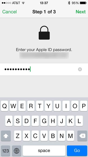 insira apple id apaga iphone