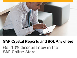 SAP Crystal Reports and SQL Anywhere - Get 10% discount now in the SAP Online Store.