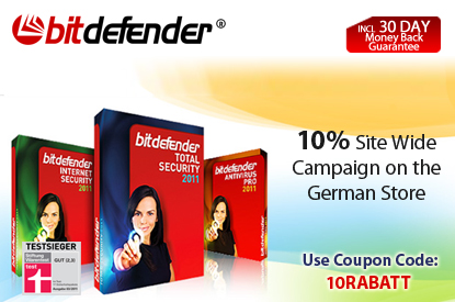 BitDefender DE - 10% Site Wide Campaign