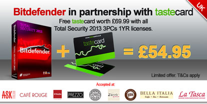 Bitdefender in partnership with Tastecard. Free Tastecard worth £69.99 with all Total Security 2013 3PCs 1YR licenses