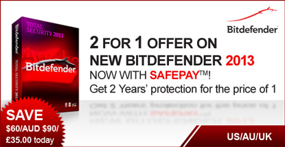 Bitdefender US – 2 FOR 1 offer on Bitdefender Total Security 2013.