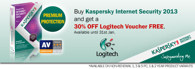 Buy Kaspersky Internet Security 2013 and get a 30% OFF Logitech Voucher FREE. Available until 31st Jan.