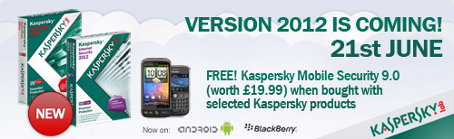 Version 2012 FREE! Kaspersky Mobile Security 9.0 (worth £19.99) when bought with selected Kaspersky products